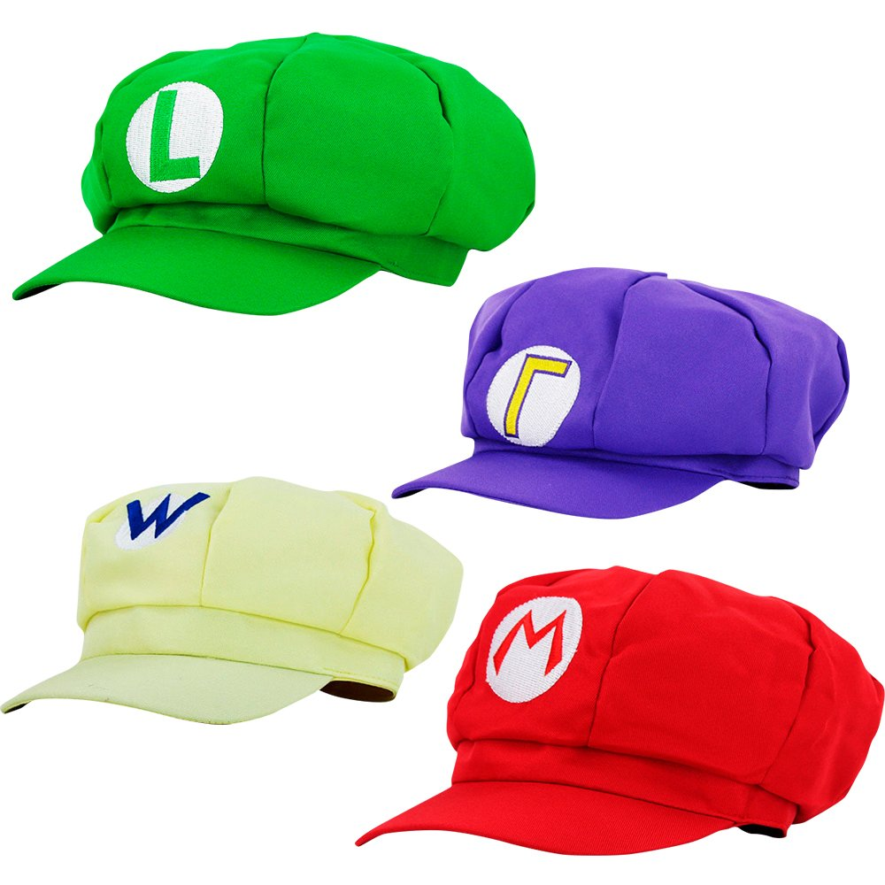 thematys Super Mario Hat Luigi Wario Waluigi - Adult & Kids Costume Set - Perfect for Carnival & Cosplay - Classic Cappy Cap