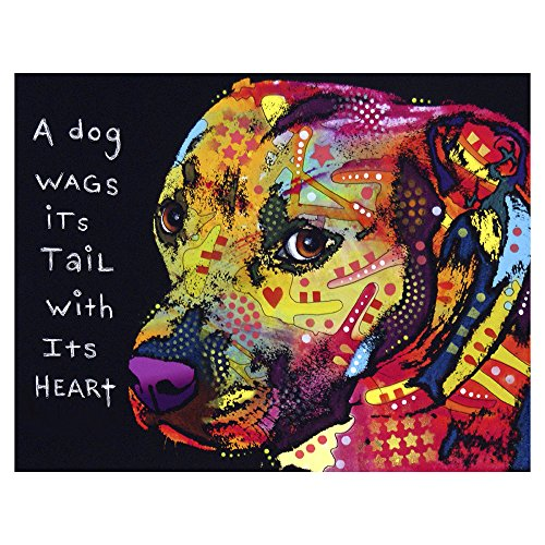 Gratitude Pitbull Printed on a 10x13 inch Metal Wall Art by Dean Russo ()