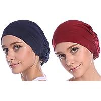 Biback 2 Pcs Hijab Femme Elastique Fichus Bonnet Lot 2 Chapeaux Chemo Fleur Arri/ère El/égant Couvre-chef Elastique Turban Respirable adapt/é Femme,Fille pour Voyager//Camping//Chimio Motif en Vogue