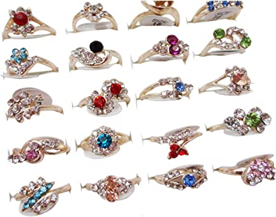 50//100pcs Wholesale Rings Crystal Rhinestone Silver//Gold Plate Ring Girl Jewelry