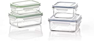 Glasslock Classic 8 Piece Clear Tempered Glass Microwave, Dishwasher, Freezer, and Fridge Safe Food Storage Container Set with BPA Free Plastic Lids