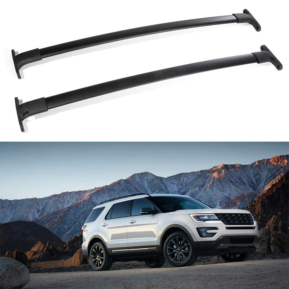 ROADFAR Roof Rack Aluminum Top Rail Carries Luggage Carrier Fit for 2016-2019 Ford Explorer Baggage Rail Crossbars
