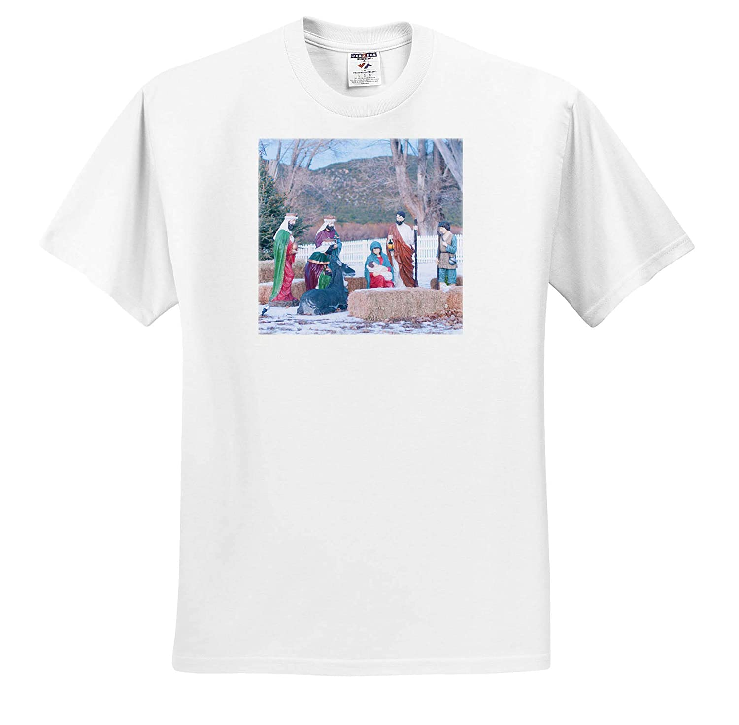 3dRose Jos Fauxtographee- Nativity Scene ts/_309248 A Nativity Scene in Pine Valley in The Daytime Adult T-Shirt XL