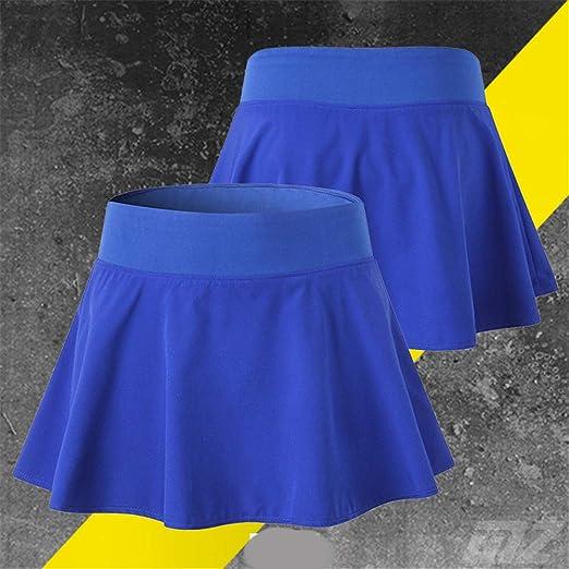 Hoverwin - Falda de Tenis para Mujer, Minifalda, Secado rápido, para Deporte, Fitness, Yoga, Pliegues, con pantalón Interior, Color Azul, tamaño ...