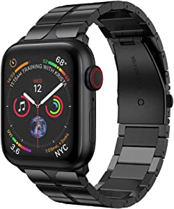RABUZI Compatible for Apple Watch Band 44mm/42mm,Enamel Process Stainless Steel Metal Adjustable Sport Wristband Compatible for Apple Watch Series 5/4/3/2/1 Smartwatch,Black
