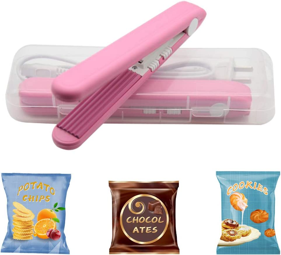 Mini Bag Sealer,Heat Sealer,Chip bag sealer,Handheld Food Sealer Bag Resealer for Food Storage,Portable Smart Heat Sealer Machine with 2 Smart Switches on the Side for Plastic Bags, Snack Bags, Chip Bags, paper crimper,Vacuum food storage bag. (Pink)