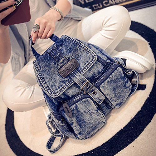 BXI Women Denim Backpack Girls School Backpack Casual Daypack (Pattern Blue) by BXI (Image #6)