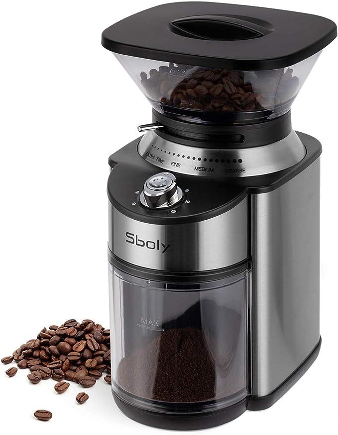 Moulin à café à meules coniques, Moulin à café à meules en acier inoxydable avec 19 réglages précis de mouture, Moulin à café électrique pour le goutte-à-goutte, Percolateur, Presse française