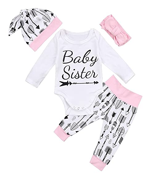 c4870a3ae69 Emmababy Infant Baby Girl Pink Romper Bodysuit Long Pants Hat Headband Outfit  Little Sister Clothes Set