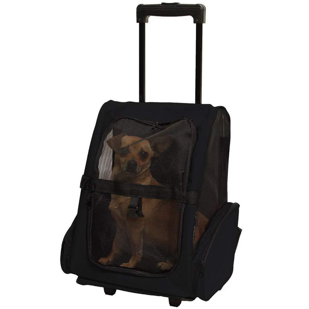 【当店限定販売】 Yalztc-zyq16 ファッションペットローリングキャリアバックパック Yalztc-zyq16 B07Q219XPX ブラック、猫ダッフルバッグペット旅行キャリアの犬の車輪 (色 : ブラック) ブラック B07Q219XPX, 徳島県物産センター:5d36b6d5 --- a0267596.xsph.ru