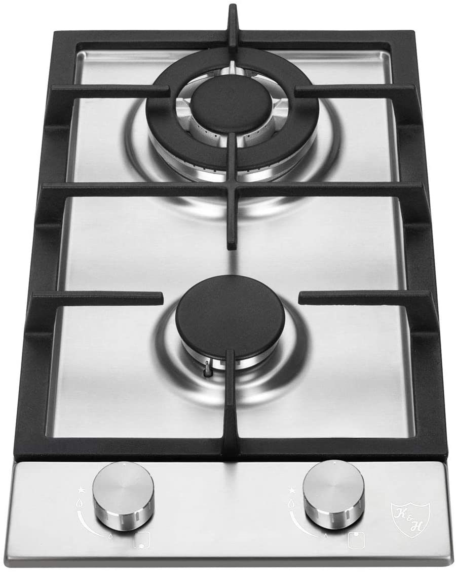 K/&H 2 Burner 12 Built-in LPG//Propane Gas Stainless Steel Cast Iron Cooktop 2-SSWKL-LPG