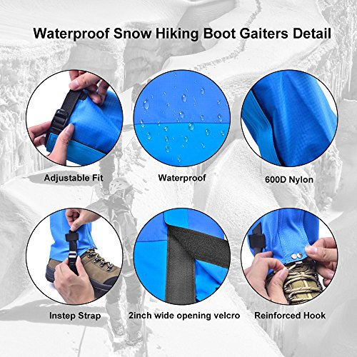 Leanking Leg Gaiters, Waterproof Snow Boot Gaiters 600D Anti-Tear Oxford Fabric Outdoor Waterproof Snow Leg Gaiters for Outdoor Hiking Walking Hunting Climbing Mountain (Blue, M) by Leanking (Image #4)