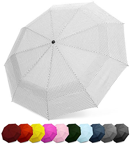 Tote Dots Polka Print - EEZ-Y Compact Travel Umbrella w/Windproof Double Canopy Construction - Auto Open/Close Button