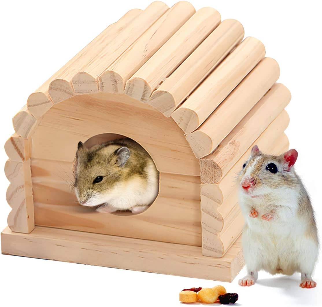 DUANY STORE Mini Wooden Hamster House, Small Animal Nesting Habitat,Hamster House Wooden Hut Play Toys Chews
