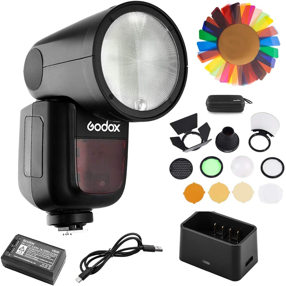 Godox V1-O Flash for Olympus with Godox AK-R1 and PERGEAR Color Filters Kit 76Ws 2.4G TTL Round Head Flash Speedlight 1.5S Recycle Time 10 Level LED Modeling La 1//8000 HSS 2600mAh Lithimu Battery
