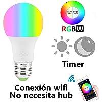 Foco LED WiFi Regulable Bombilla, Multicolor Smart Bombilla, RGBW Temporizador Foco【No Se Requiere Hub】6.5W E27, Funciona con Amazon Alexa y Google Home, Control de voz, 16 Millones de Colores