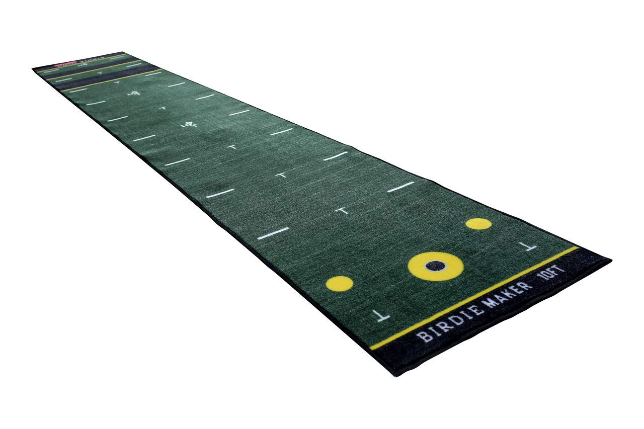 Birdie Maker 10 Foot Putting Mat – Golf Training Putting Aid – Practice Putting Green Designed by a PGA Professional