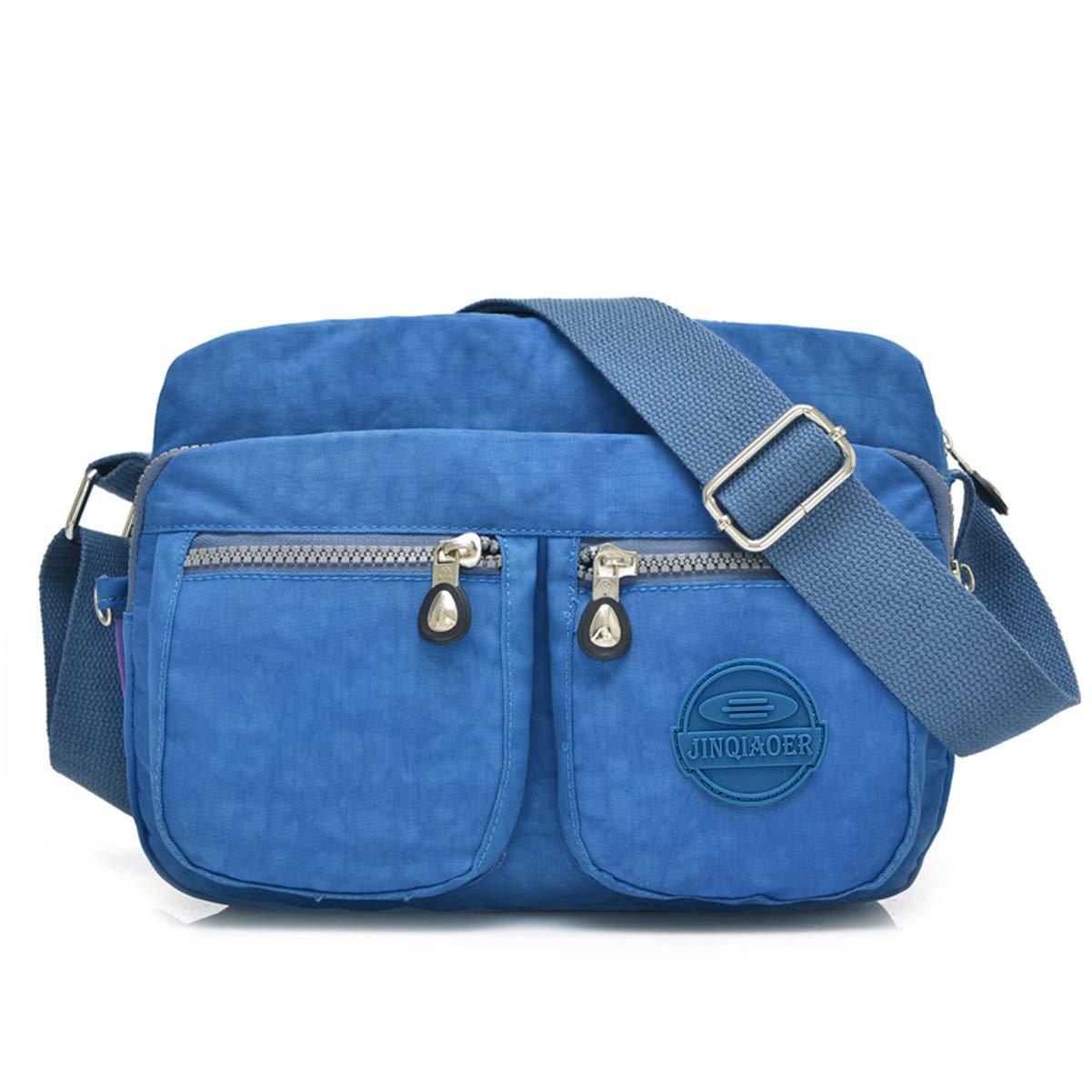 Tiny Chou Lightweight Waterproof Nylon Shoulder Bag Compact Crossbody Messenger  Bag with Pockets (3116 Blue)  Handbags  Amazon.com 38f3bd4068c35