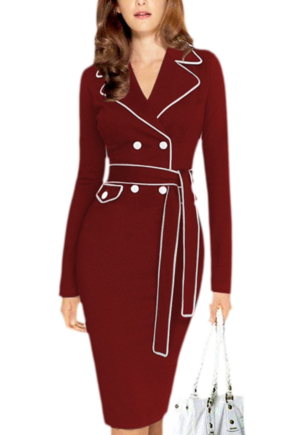 Women Elegant Pencil Bodycon Business Suit Dress with Belt Plus Size CAFZ1296