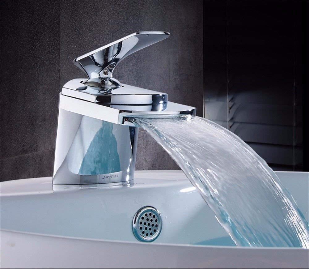 Eeayyygch Küchenarmaturen aus massivem Messing Heißes und kaltes Wasser Spüle Becken Mischbatterie Waschbecken Wasserhahn Wasserfall (Farbe   -, Größe   -)
