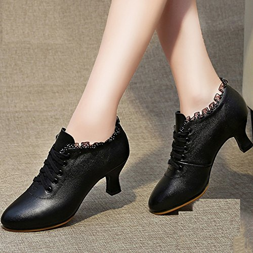 PENGFEI EU39 Women's Dance 2 Size UK6 Breathable Latin Mid 245mm Red Ankle Color L Colors Boots Heel Black Spring Summer And Dance Shoes Adult HHWOSnr6