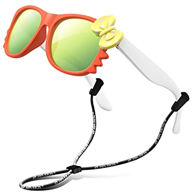 2787fd586dd RIVBOS RBK002 Rubber Flexible Kids Polarized Sunglasses for Baby and Children  Age 3-10 (Mirrored Lens Available)(Orange Mirror Lens)  Amazon.co.uk   Clothing