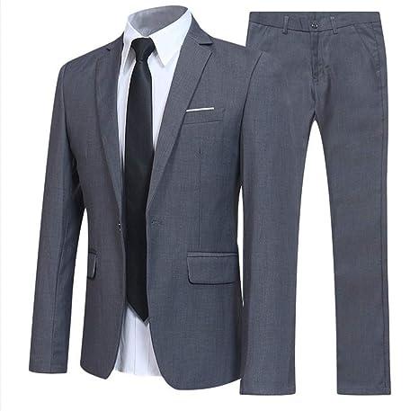 Amazon.com: JJNGJ Mens Suit Elegant Solid Slim Fit 1 Button ...