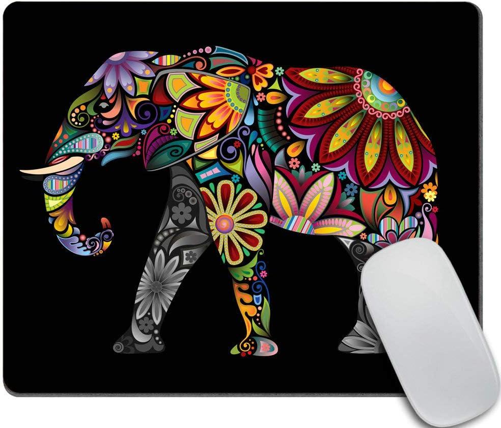 Amcove Office Desk Accessories, Colorful Elephant Mousepad, Mandala Floral Elephant Mouse Pad, Office Decor for Men Women, Office Gifts, Desk Decor
