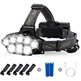 Briignite Rechargeable Headlamp, 8 LED High Lumen Headlamp Flashlight 6 Modes with White Red Lights, 18650 USB Rechargeable W
