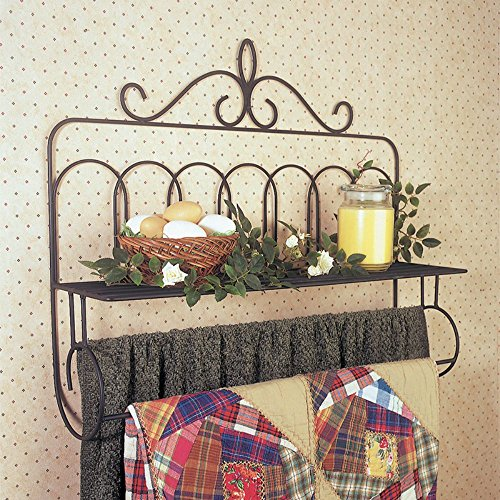 J&J Wire Victorian Double Quilt Holder with Shelf (Quilt Shelf Wall)