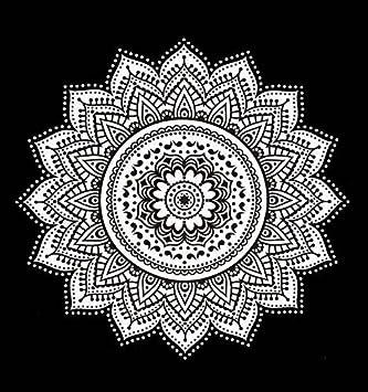 Nouvelle Ombre Mandala Tapisserie Noir Et Blanc Indienhindou
