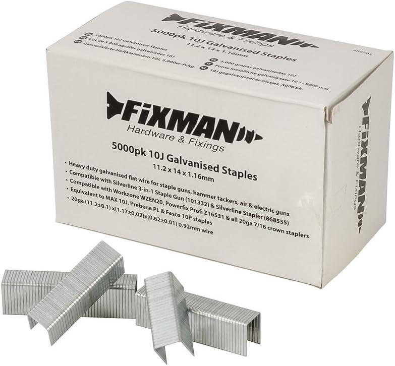 FIXMAN 455701 10j Zincato Punti Metallici 11.2 x 14 x 1.16mm Confezione da 5000-5000pk
