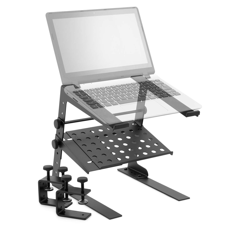 Tiger Laptop Stand with Shelf - Adjustable DJ Stand, Black, LEC18