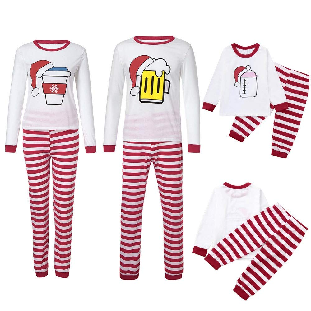 kaiCran Family Matching Outfits Long Sleeve Christmas Hat Cartoon Print Tops Striped Pants Lovely Family Clothes Sets