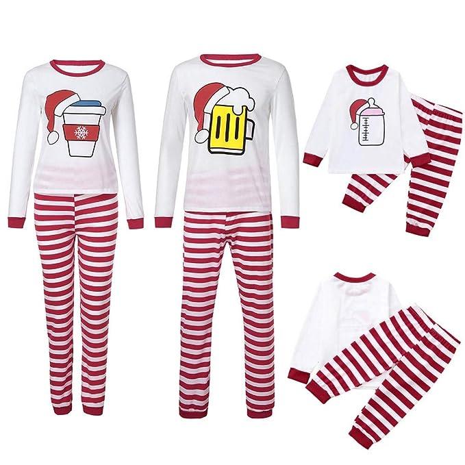 cd71cd24eb Women Men Parent-Child Family Matching Christmas Pajamas Santa Hat Print  Stripe Sleepwear Set (