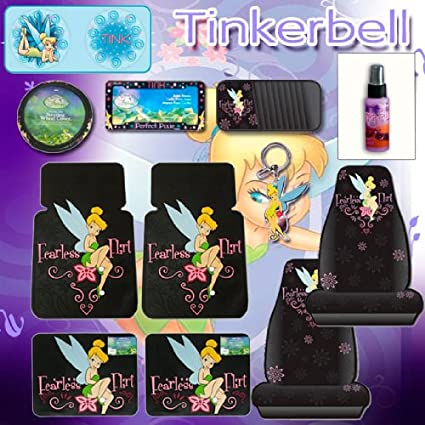 12 Pcs Tinkerbell Fearless Flirt Combo Front Rear Car Floor Mats Seat Covers Steering