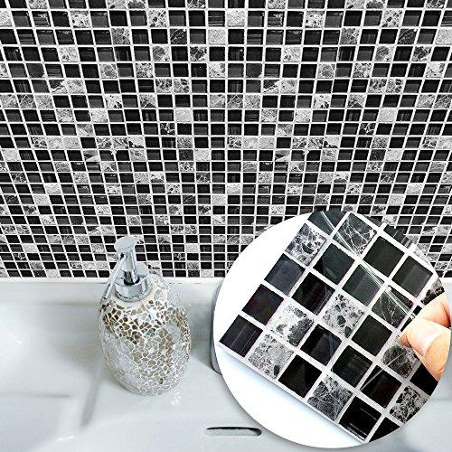 VANCORE Mosaic Tile Stickers Black and White Square Tiles Decor Wall Art Sticker Decal Kitchen Bathroom Living Room Home Decorative 10PCS/Set (20cmx20cm/7.87x7.87)