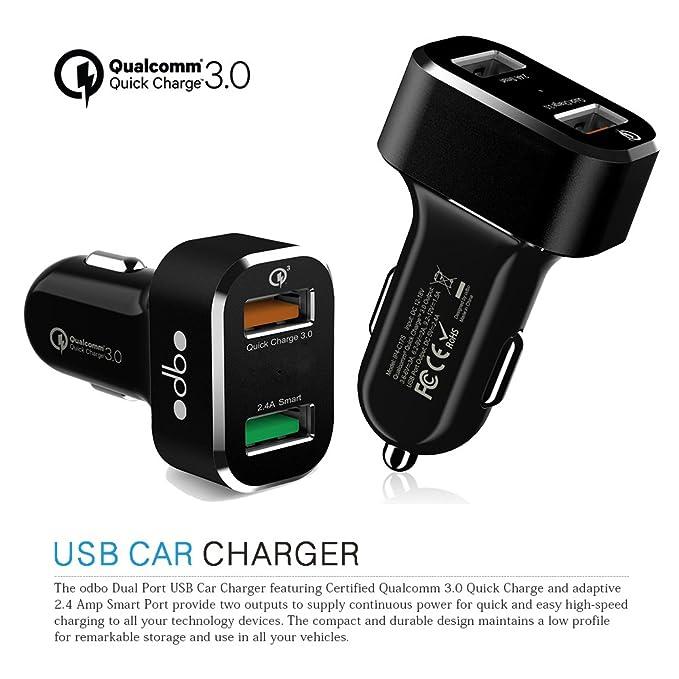 odbo portátil Dual USB Puerto Cargador de coche [Qualcomm ...