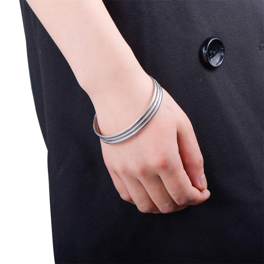 BTOYM Plated Bangle High Polish Set of 3 Pieces Stackable Steel Color Bangle Bracelets Simple Style Stainless Steel Charm Bracelets for Woman Girls