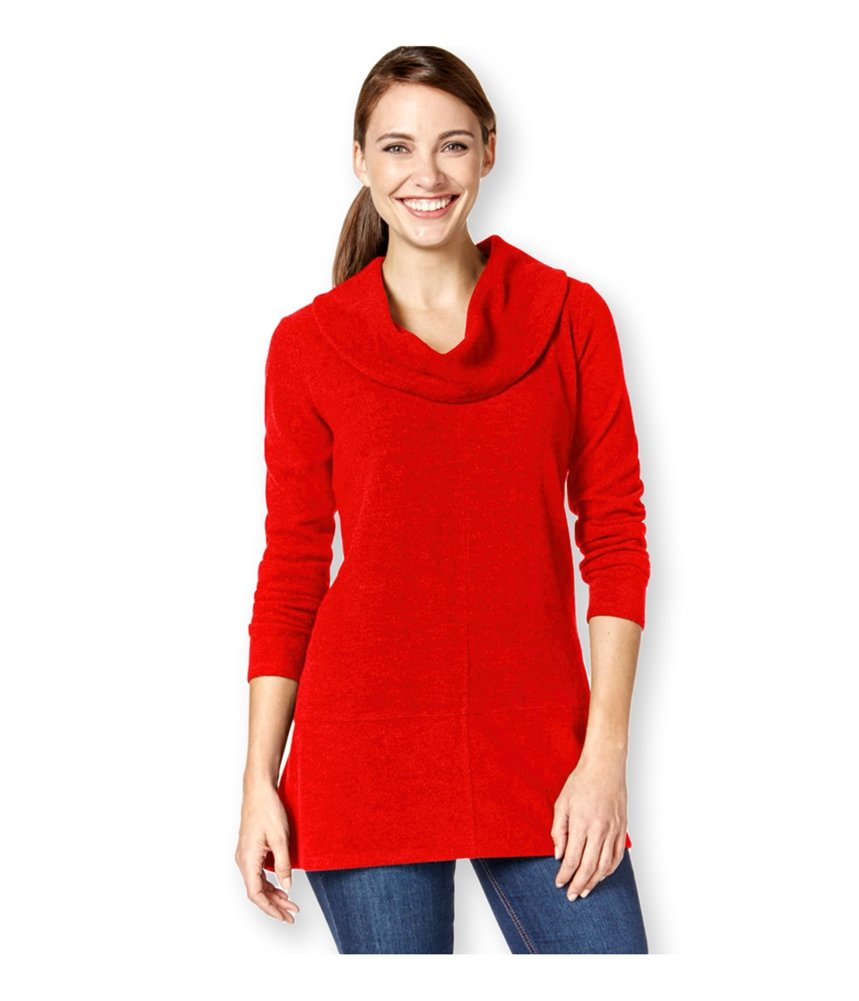 Style & Co. Womens Cowl Handkerchief-Hem Pullover Sweater Red PL - Petite