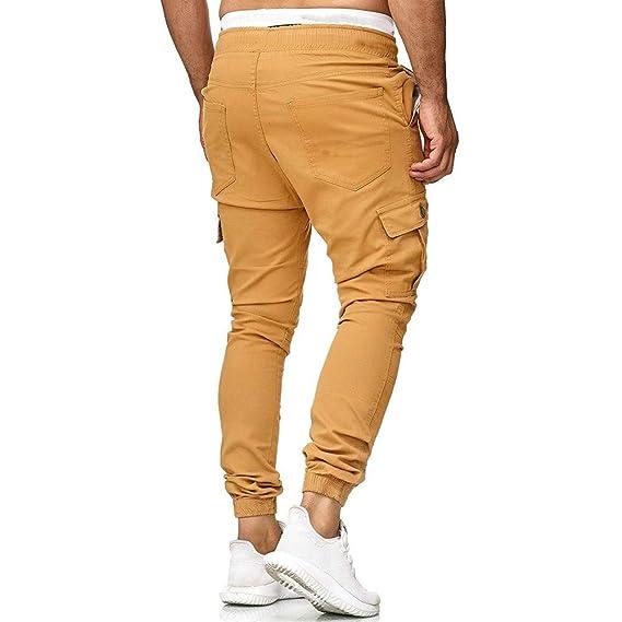 474733a1c YanHoo Pantalón Casual de Color sólido para Hombre Pantalones de chándal  para Hombres Pantalones Casual Elásticos Pantalones Deportivos Bolsos  Holgados ...