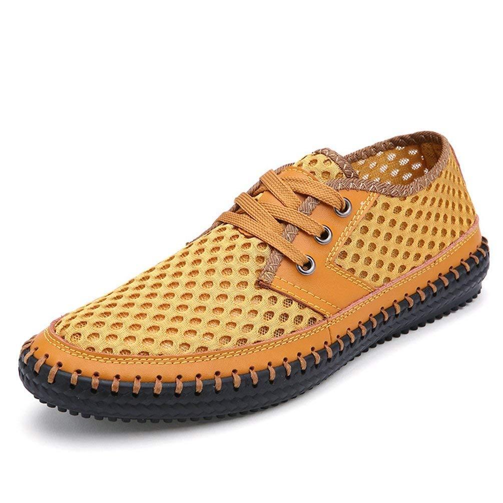 ZHRUI Männer Freizeitschuhe Sommer Schuhe Mode Atmungsaktives Mesh 38-48 Schuhe (Farbe   Gelb, Größe   9UK=43EU)