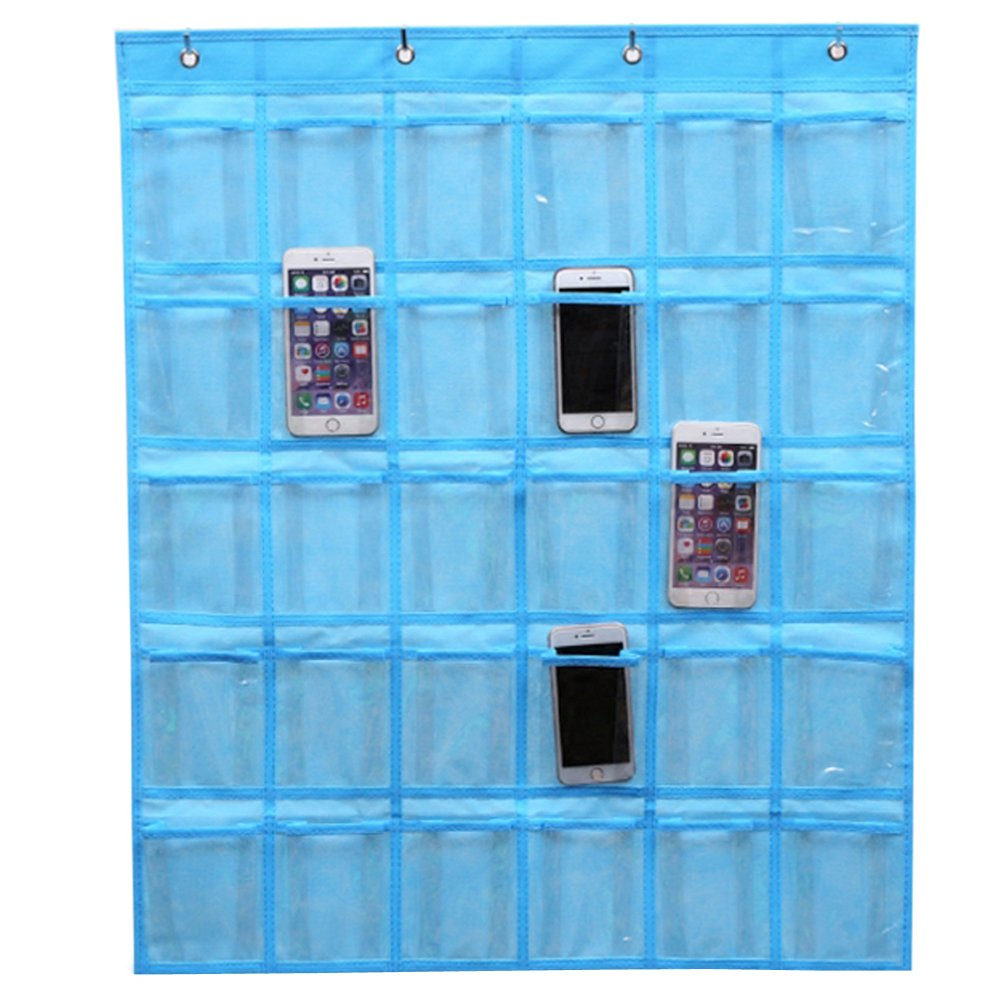 Fittoway Nonwovens 30 Pockets Classroom Pocket Charts for Cell Phones Wall Door Hanging Organizer with 4 Hooks Beige