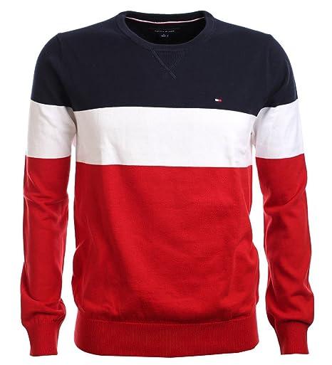 c09b219268dc70 Tommy Hilfiger Herren Crew-Neck Pullover dunkeblau-weiß-rot (L ...