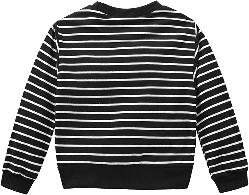 Kids Boys Clothes Autumn Stripe Print Long Sleeve T-Shirts Top Pants Clothes Outfit Set for Vacations