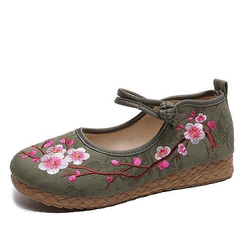 2018 Nuevos Zapatos de Mujer Primavera Verano Alpargatas Zuecos Zapatos de Tela Bordado de Lino Oxford