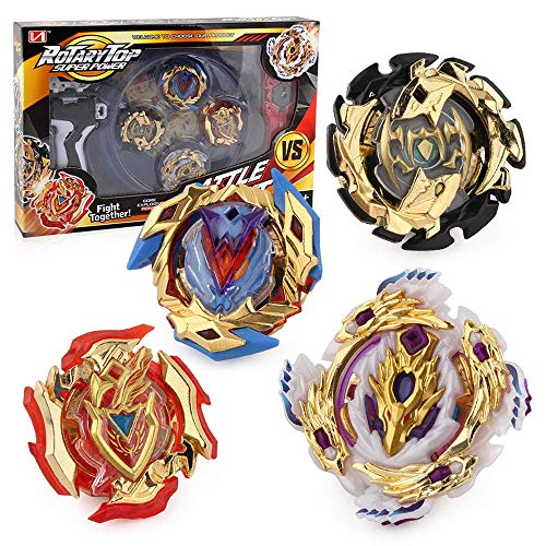 WXL New 2019 Bey Burst Battling Top Bey Battle Burst Avatar Attack God Evolution Golden Version Set Gyroscope B-104/b-105/b-106/B-110 with 4D Sword Launcher Grip and Stadium Battle Set
