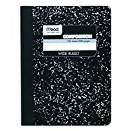 Mead 09910 Composition Book, Wide Rule, 9 3/4 x 7 1/2, White, 100 Sheets