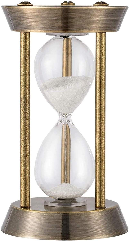 KSMA 5 Minutes Hourglass Sand Timer,Brass-Tone Metal Hour Glass with White Sand