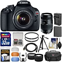 Canon EOS Rebel T5 Digital SLR Camera Body & 18-55mm IS II Lens with 70-300mm Lens + 32GB Card + Case + Battery/Charger + Tripod + Tele/Wide Lens Kit Key Pieces Review Image